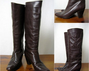 SALE QUILTED ITALIAN leather tall chocolate stacked wood heel boots, 7.5