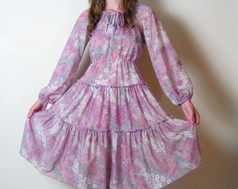 vintage 1970s sheer LILAC FLORAL peasant dress