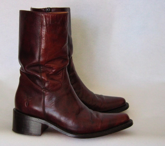 OXBLOOD leather FRYE cowgirl boots 6.5