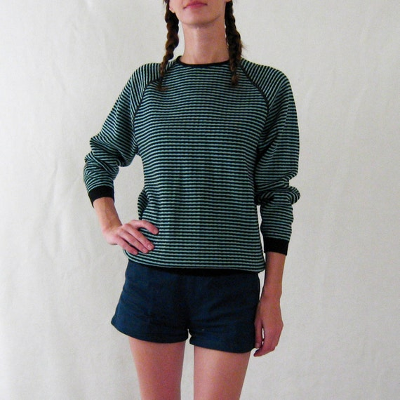 SALE //  ROBIN'S EGG blue striped slouchy sweater