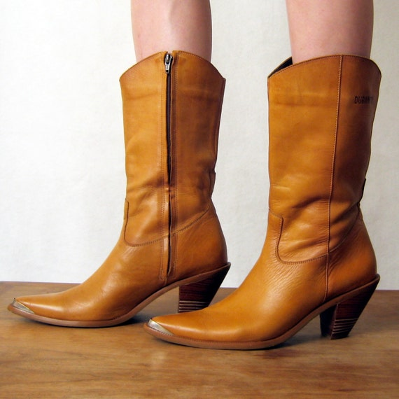 s a l e //  CAMEL LEATHER Durango stacked heel cowgirl boots, 8