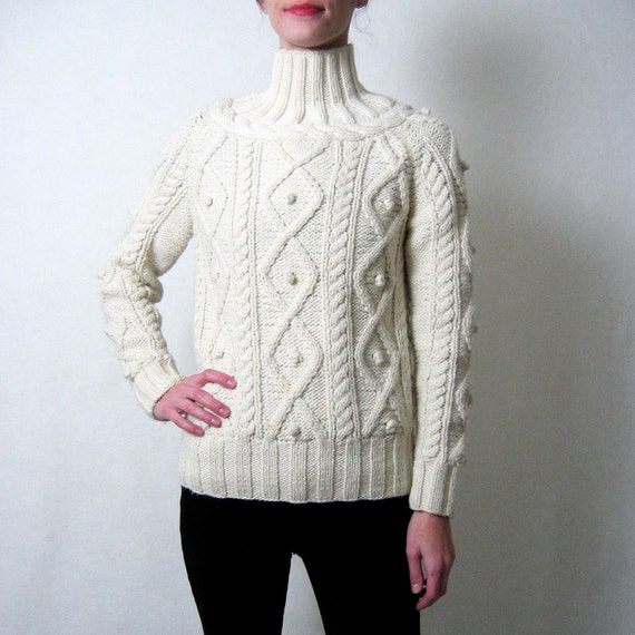 soft cream POPCORN KNIT cable fisherman's sweater
