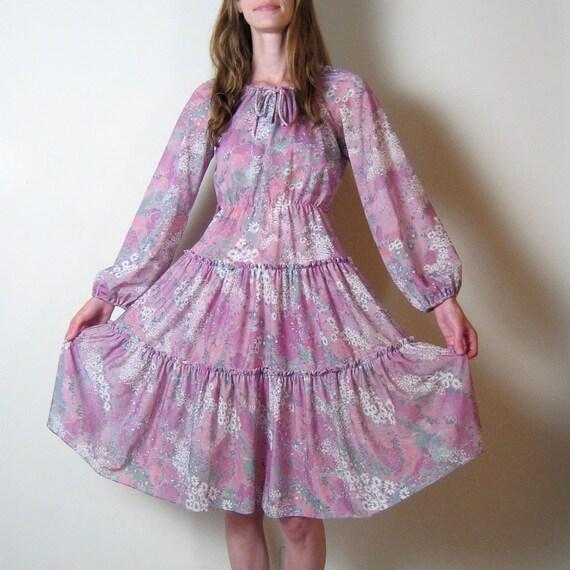 vintage 1970s sheer LILAC FLORAL peasant dress
