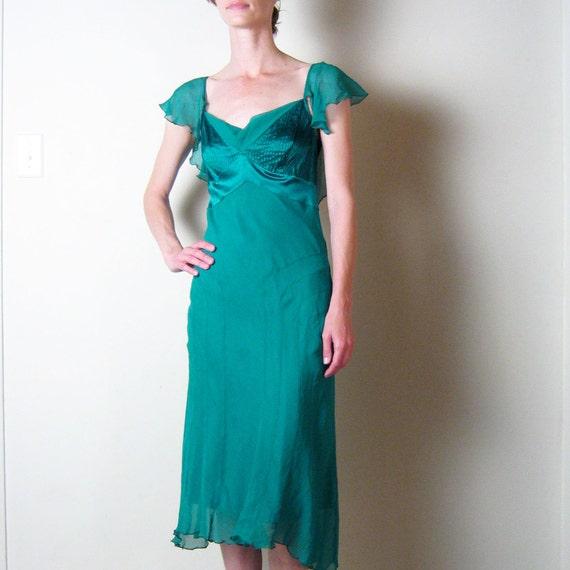 RESERVED   DIANE von FURSTENBERG emerald green silk dress