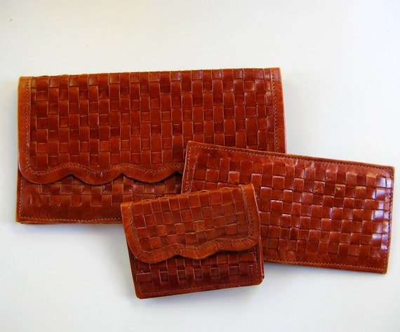 vintage SCALLOPED WOVEN leather clutch wallet purse TRIO