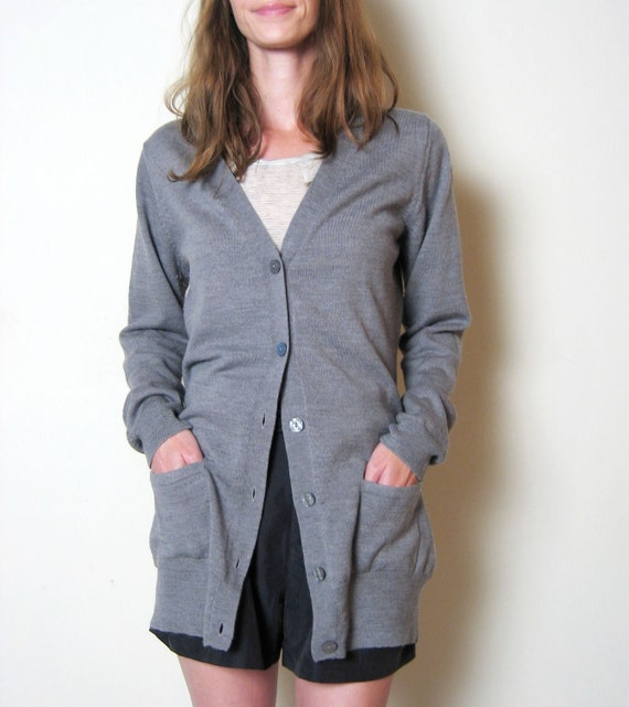 grey ITALIAN WOOL long cardigan sweater, m - l