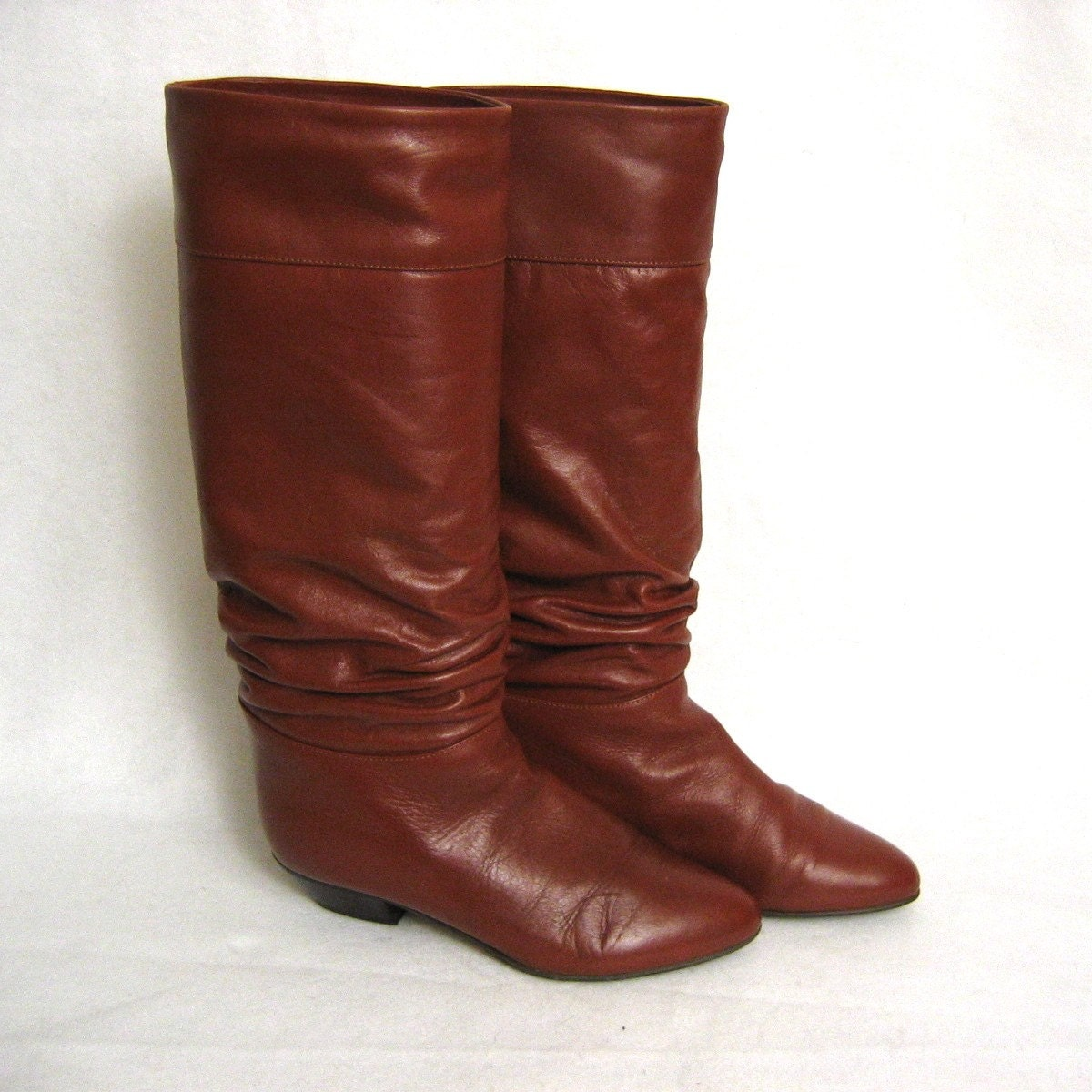 cognac brown italian leather slouch boots