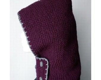 SALE Hand-knit Hood + neckguard 2-in-1  (Plum)