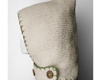 SALE Hand-knit Hood + neckguard 2-in-1  (Ivory)