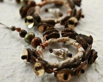 Rustic Tambourine Earrings - OOAK - natural
