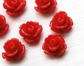 12pcs small rose cabochons -  scarlet red 10mm