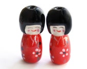 Ceramic red Japanese doll beads - 2 pieces - 30mm