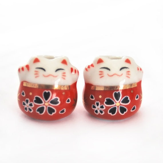 Ceramic red lucky cat beads - 2 pieces