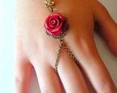 SALE RED ROSE bracelet ring