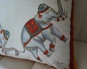 Red Royal Elephants - Vintage Cushion Cover - Jim Thompson