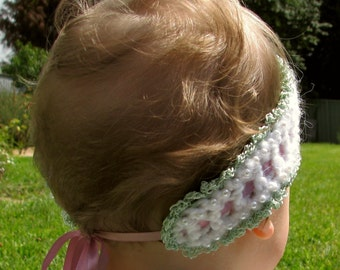 Crochet Pattern Headband with Pearl Beads and Satin Ribbon pdf
