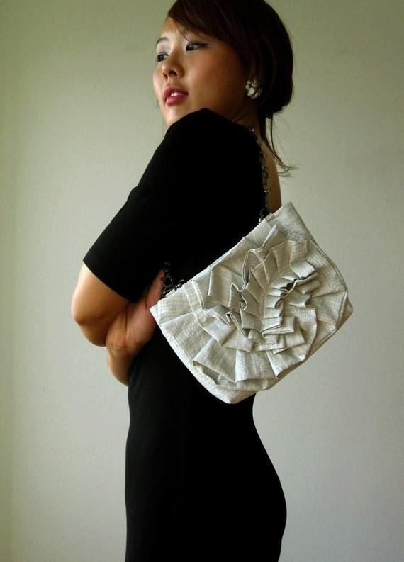 DEAR ruffle white purse