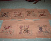 Vintage Complete Set Tea Towels Days Of The Week Embroidered Butterflies Peach Cotton Like New