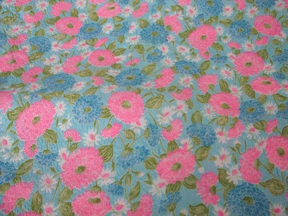 "VTG 1960's fabric bright pink flowers FUNKY MOD 40"" wide 2 yds plus textured polyester"