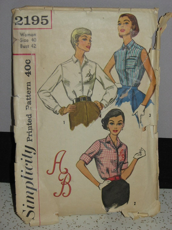 Vintage Misses Simplicity 2195 Sewing Pattern 1950s Sz 40/42 Womens Blouse Pattern 3 Views