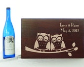 Sleeping Love Owls Wedding Time Capsule Wine box in Medium