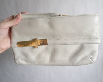 SALE Vintage White Leather Clutch / Ivory Leather Clutch / Crown Lewis Clutch
