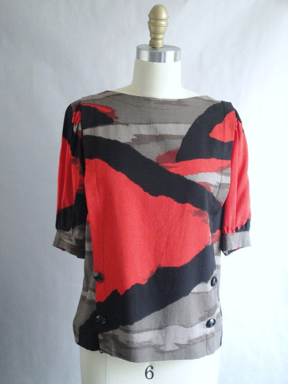 Vintage Abstract Blouse Leslie Fay size XS S