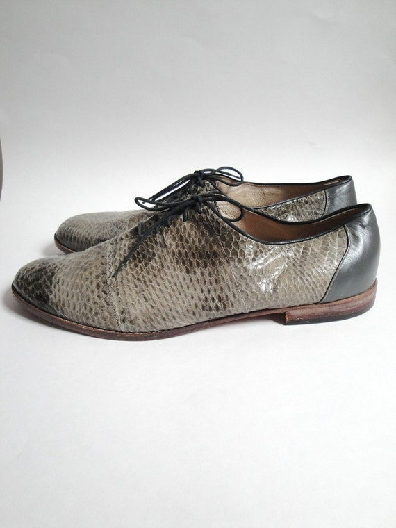 Vintage Mens Snake Skin Shoes Leather Grey Green size 11 12