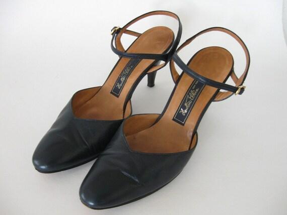Vintage Newton Elkin Shoes Navy Leather Ankle Strap size 8.5