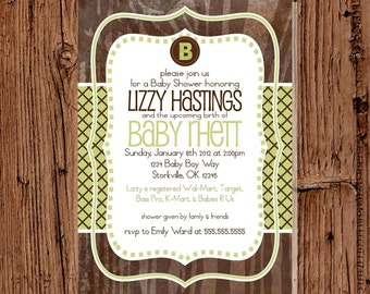 Brown & Green Baby Boy Shower Invite, 5x7 printable or printed