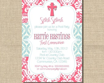 First Communion Girl Invitation, Hot Pink & Turquoise Damask 5x7 printable