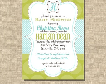 Baby Boy Shower Invitation, Green & Aqua 5x7 printable