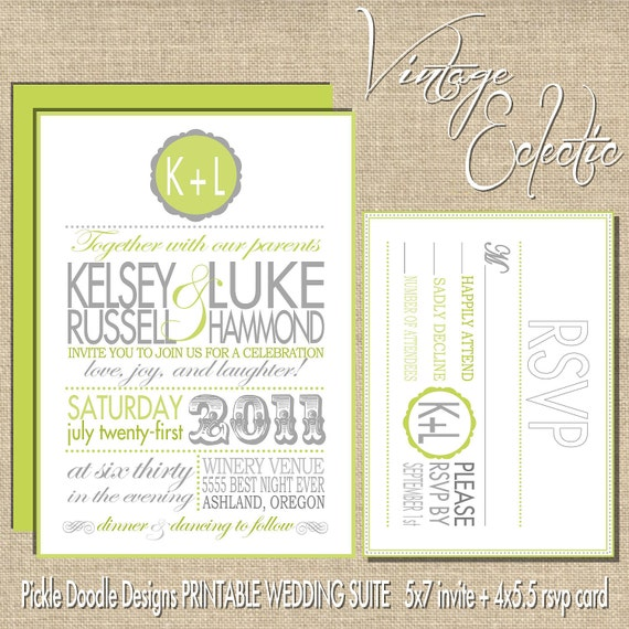 Printable Wedding Invitation Suite,Vintage Eclectic Green & Gray 5x7
