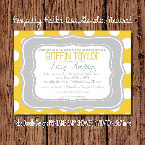 Baby Shower Invitation, Yellow & Gray 5x7 printable gender neutral