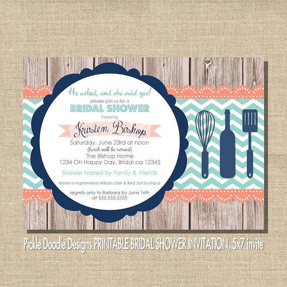 Bridal Shower Invitation, Navy & Coral on Wood 5x7 printable