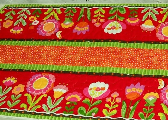 Bright Color Large Floral Summer Quilted Table Runner