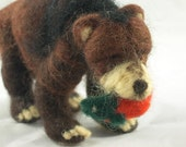 Felted Grizzly Bear with Salmon