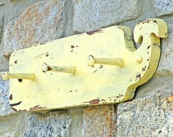 Coat Rack Whale Tail Shabby Decor Yellow Wood Coat Rack