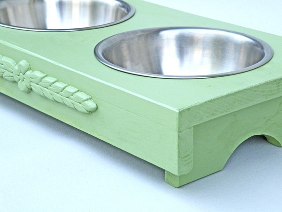 Dog or Cat Water Feed Bowl Cottage Green