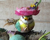 The BIRD and the BEE Vintage Table Centerpiece decoration Bird Nest robins egg blue flower hat antique bed spring decor
