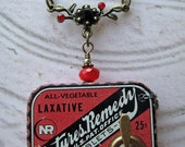 BOGO Sale Steampunk Mechanical Necklace antique red advertising tin Rhinestones Vintage watch parts