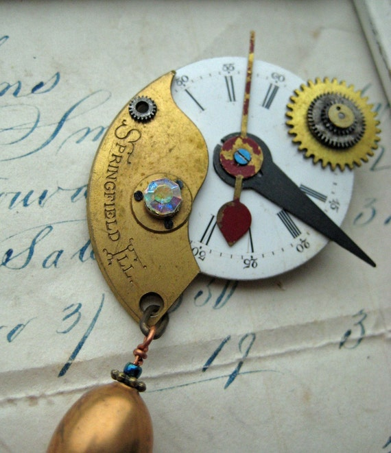 HOLIDAY SALE 20% off Watch Parts RECYCLED jewelry brooch upcycled steampunk pin one of a kind geekery Springfield Illinois