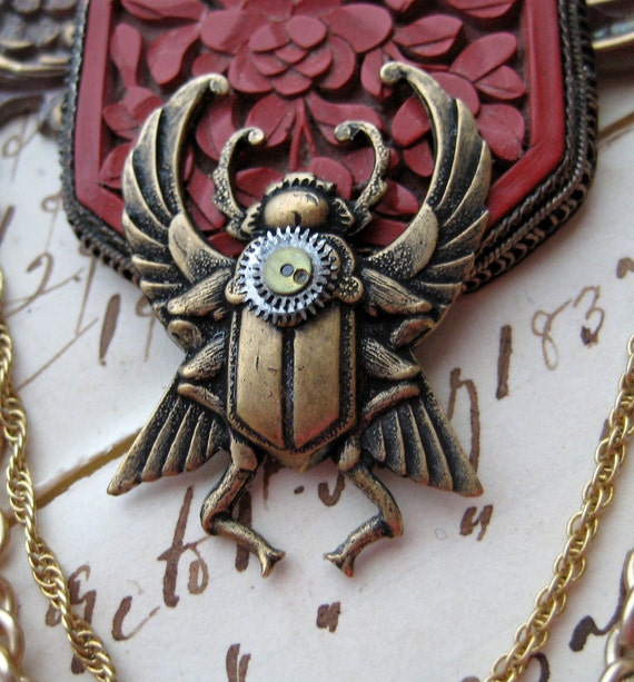 Antique Chinese Carved Cinnabar Pin STEAMPUNK Mechanical Beetle Brooch