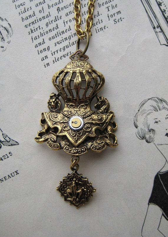 British Royal Family Coat Of Arms Wedding Necklace Steampunk