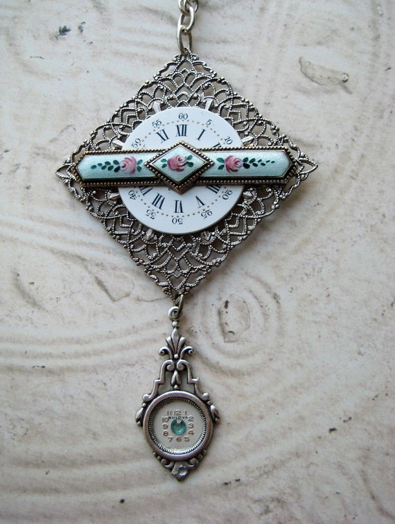 Antique hand painted turuoise rose guilloche steampunk brooch enamel silver filigree vintage watch parts turquoise hand made beads