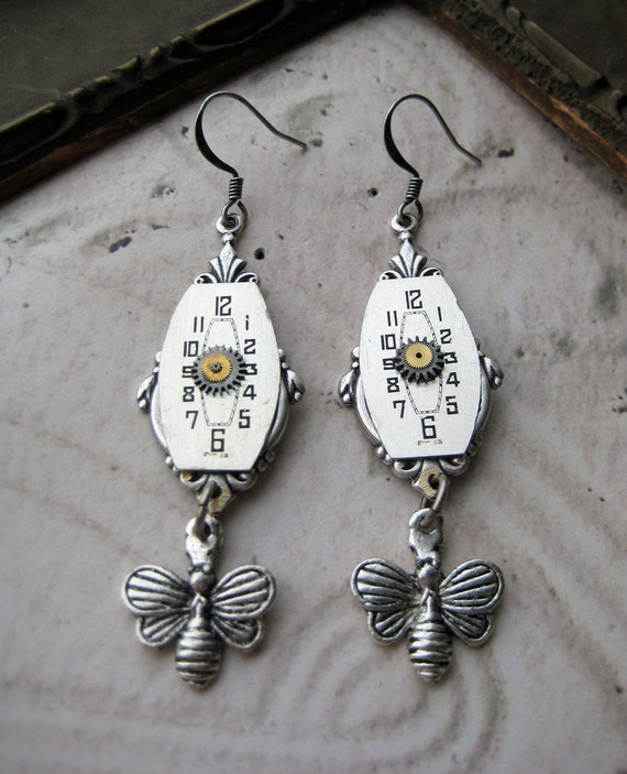 Steampunk Earrings silver art deco antique watch parts vintage butterfly charms beads wristwatch