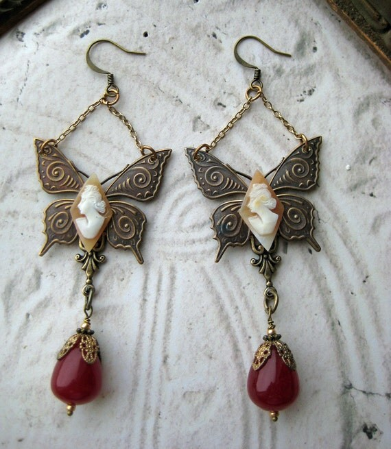 Steampunk Earrings Antique hand carved cameos butterfly vintage blood red glass beads