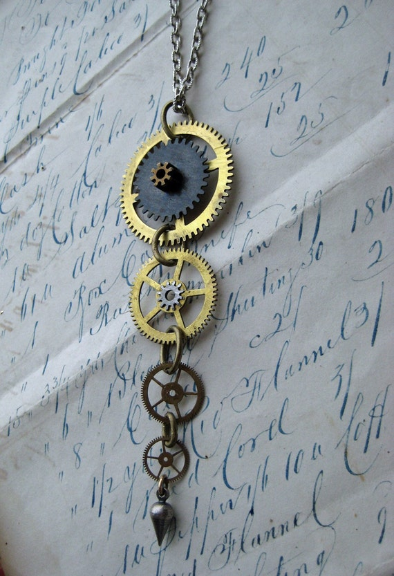 Steampunk Necklace 7 Cuckoo clock Gears Antique vintage clock parts