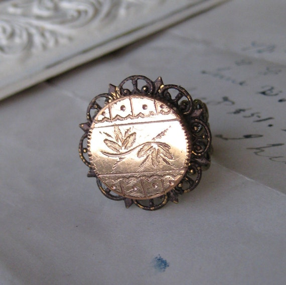 Victorian Gold Fill Ring antique vintage brass filigree FOUND OBJECT cufflink engraved