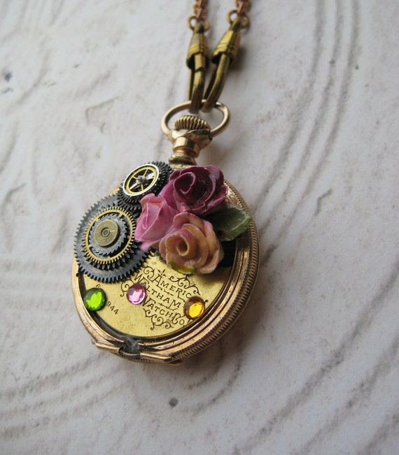 FREE priority Shipping Sale Steampunk Necklace Antique Pocket Watch Case vintage hand painted china rose pin jewels watch fob chain